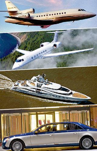 Любимые игрушки олигарха - два личных самолета «Falcon 900 EX» и «Guifstream GV-SP», 62-метровая яхта «Solemar» и лимузин «maybach»