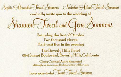 Приглашение на свадьбу получили рок-музыканты, модели и кинозвёзды