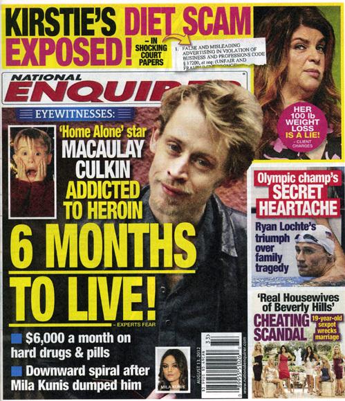 Американский журнал вышел с обложкой, утверждающей, что КАЛКИНУ осталось всего плогода жизни
