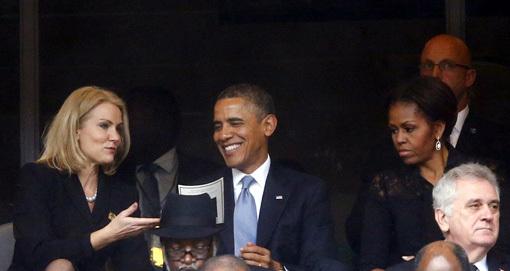 Барак и Мишель ОБАМА на похоронах Нельсона МАНДЕЛЫ. Пока супруг флиртовал с симпатичной датчанкой, Мишель сидела мрачнее тучи. Фото: © Reuters