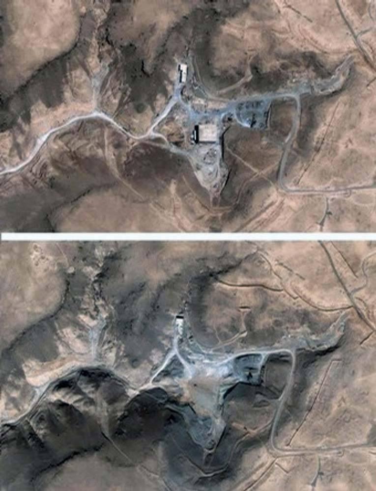 Спутниковый снимок объекта Эль-Кибар, возводившегося в глухом горном углу Сирии.  Источник: masterok.livejournal.com