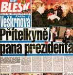 ГАЗЕТА &#034BLESK&#034 - НИ ДНЯ БЕЗ СЕНСАЦИИ: на первой странице Вацлав Гавел с любовницей