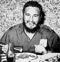 КАРТОЧКА НА ПАМЯТЬ: дома Фидель Кастро не брезгует штатовской &#034колой&#034 и японскими суши