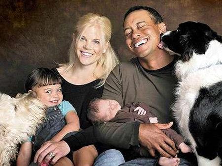 Тайгер Вудс с семьёй