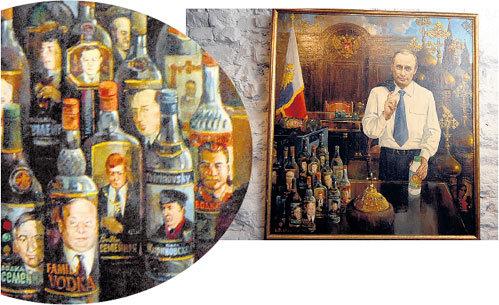 На полотне под названием «Тяжёлое наследство» изображено, как Владимир ПУТИН впервые зашёл в кабинет ЕЛЬЦИНА. Его встретили только проблемы и пустые бутылки