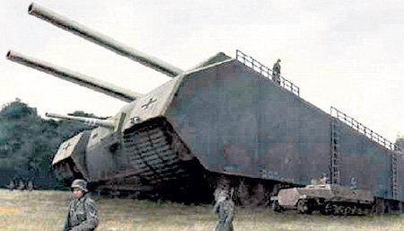 1000-тонная «Крыса» оставляла бы за собой непроходимые рытвины (на фото - компьютерная модель танка)