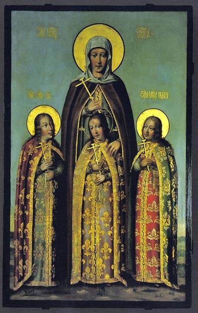 Икона Веры, Надежды Любови и матери их Софии. Карп Золотарев, 1685 г. wikipedia