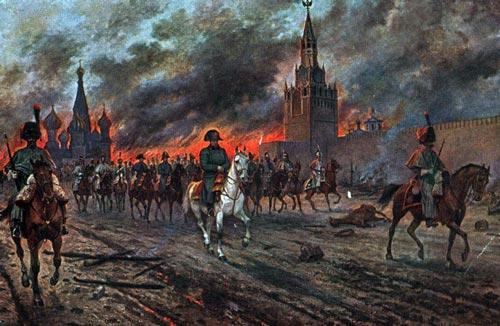 Наполеон (в центре) покидает горящий Кремль. Картина Виктора Мазуровского