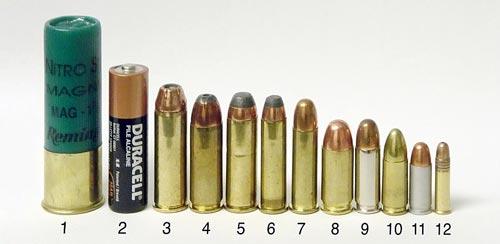 Различные пистолетные и револьверные патроны. № 12 — .22LR. Для сравнения приведены ружейный патрон 12-го калибра с гильзой длиной 76 мм (1) и элемент AA (2). Источник: wikipedia.org