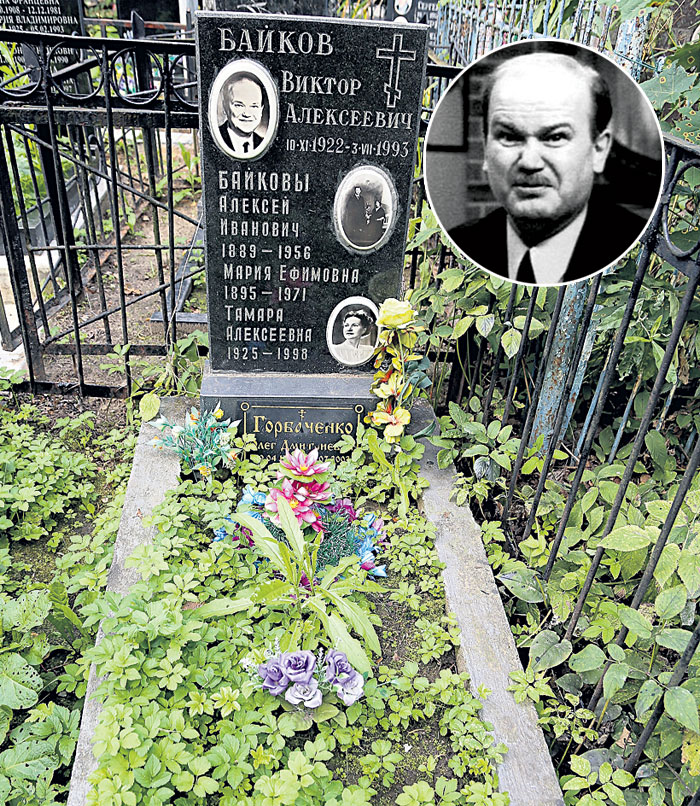 Байков похоронен с родителями и младшей сестрой (Преображенское кладбище, уч. 15)