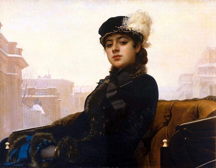 Поскольку место рядом с дамой свободно, «Неизвестная» - это дорогая проститутка, «камея», полагали современники Крамского